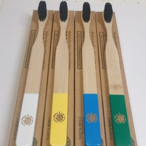 4 Colourful Eco-Friendly Bamboo Toothbrushes - Easy-Grip Handle, Bamboo Charcoal Infused Bristles from The Little Green Orca