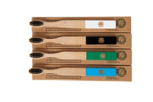 4 Colourful Eco-Friendly Bamboo Toothbrushes - Easy-Grip Handle, Bamboo Charcoal Infused Bristles for Kids from The Little Green Orca