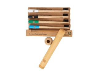 4 Colourful Eco-Friendly Bamboo Toothbrushes & 1 Toothbrush Travel Case - Drum Stick Handle, Bamboo Charcoal Infused Bristles