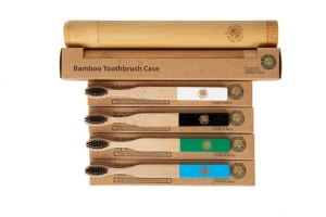 4 Colourful Eco-Friendly Bamboo Toothbrushes & 1 Toothbrush Travel Case - Easy-Grip Handle, Charcoal Infused Bristles for Kids