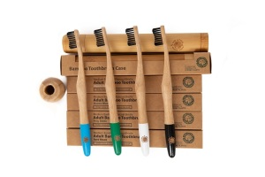 4 Colourful Eco-Friendly Bamboo Toothbrushes & 1 Toothbrush Travel Case - Sea Wave Handle, Bamboo Charcoal Infused Bristles