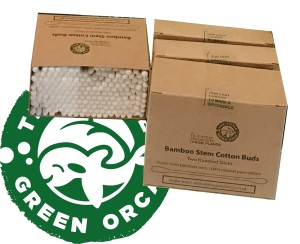Eco-Friendly Twin Head Bamboo Cotton Buds 4 Box Bundle - 100 or 200 Sticks per Box from The Little Green Orca